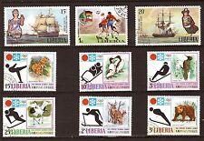 51T3 LIBERIA 9 Timbres obliteres/ Le sport  d'hiver et les voiliers