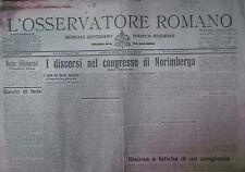 """ L'OSSERVATORE ROMANO "" N°204 Giovedì 3 SETT. 1931( ORIGINALE ! )"