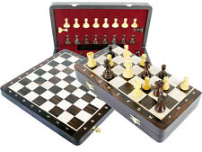 """Rosewood chess set 2.5"""" +Folding board 13"""" extra queens pawns + inlaid notation"""