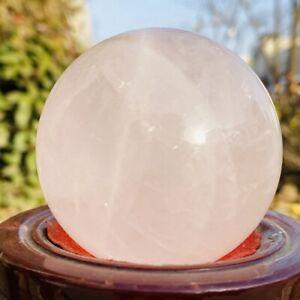 370g Natural Pink Rose Crystal Ball Quartz Cryatal Sphere Healing Reiki