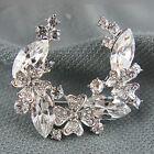 18k white Gold GF Diamond simulant crystals brooch pin with Swarovski elements