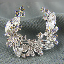 18k white Gold Gf Diamond simulant crystals brooch pin with Swarovski elements