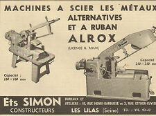 LES LILAS PUBLICITE ETS SIMON MACHINES A SCIER LES METAUX 1953