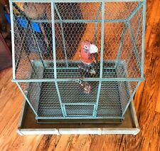 Vintage Bird Cage Large Metal Opens Sturdy Wood Base Parrot Pets 37�tall Aviary