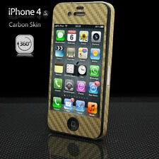 Apple iPhone 4 Carbon Schutz Folie Rundumschutz Case Cover Skin Set Neu gold