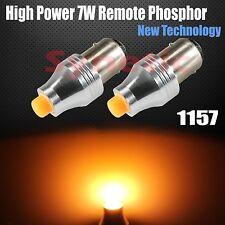 2x 1157 High Power 7W Remote Phosphor Amber Yellow LED Dual Filament Light Bulbs