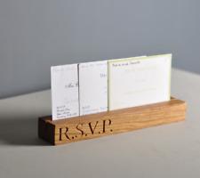 Solid Oak R.S.V.P letter Stand Mail Holder Home Gift Paper Cards Rack Wedding J