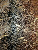 Abstract Animal Big Print w/ Gold Shiny Foil on Stretch Polyester Spandex Fabric