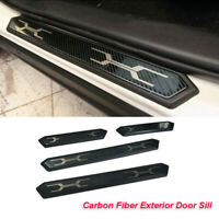 Carbon Fiber Exterior Door Sill Scuff Plate Protector Trim For Toyota RAV4 2019