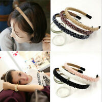 Womens Girls Elegant Crystal Diamond Knotted Headband Hairband Toothed Hair Hoop