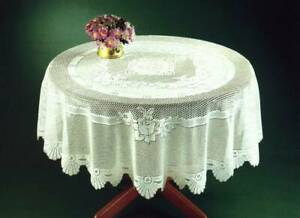 """VICTORIAN PRETTY FLORAL CREAM LACE EASY CARE TABLE CLOTH 36"""" ROUND £7.99 EACH"""