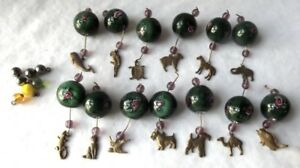 13 VINTAGE VENETIAN MURANO ITALY WEDDING CAKE GREEN ART GLASS BEADS & CHARMS