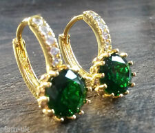 FH 18ct gold filled French hoop sim diamonds & round emeralds BOXD PlumUK