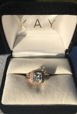 LeVian Aquamarine Ring with Chocolate and Crystal Diamonds In Rose Gold-size 5.5