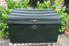 LARGE OLD VINTAGE STEEL TRUNK/CHEST. RETRO STEAM PUNK