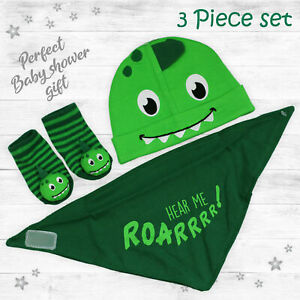 Baby Boy Dinosaur Hat Bib Socks Set Newborn Gift 3 Piece Baby Shower 0-6 Months