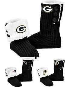 NFL Football Team Logo Womens High End Knit BUTTON BOOT Slippers