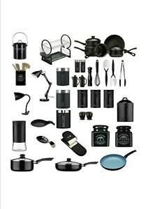 Kitchen Essentials Tea, Coffee,Sugar,Cutlery Set,Clock Spoon Accessories - BLACK