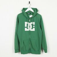 Vintage DC Shoes Big Logo Zip Up Hoodie Sweatshirt Green | Small S
