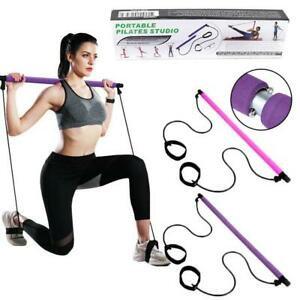 Portable Gym Pilates Bar Kit With Resistance Band Adjustable Exercise Stick