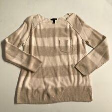 Aqua Cashmere Striped Long Sleeve Print Pattern Scoop Neck Sweater Blouse Shirt
