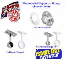 Chrome White Wardrobe Rail Fittings, Supports End Sockets, Brackets 19mm & 25mm
