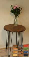 Rustic Vintage Industrial Wooden Round Table Metal Hairpin Legs