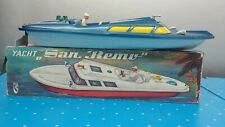 "Vintage 1960's Yacht San Remo Wind Up 18"" Boat Michael Seidel Germany Boxed"