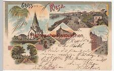 (109671) Künstler AK Gruß aus Riesa, Dampfbad, Brandenburger Weg, Pfarrhaus 1900