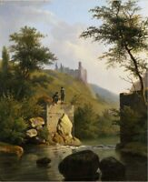 """oil painting on canvas """"a River Landscape with a Castle and Figures """"@N10968"""