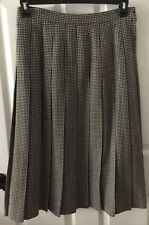 Talbots Skirt Petite 12 Vintage Knife Pleats Wool Black White Houndstooth Modest