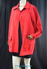 Dennis Basso jacket car coat Trench Rain Raincoat cheetah Red Size M VTG 80s NEW