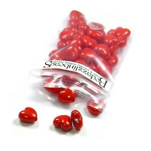 Lot of 50 Bright Red Plastic Acrylic 10mm Heart Shaped Beads with 1.7mm Hole