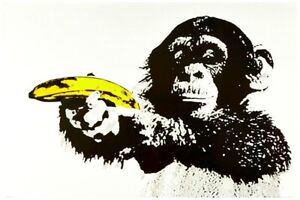 "Banksy style Monkey with Banana Gun Pop Art Poster CANVAS PRINT 32"" X 24"""