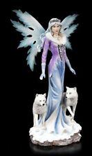 Große Elfen Figur - Lisriel mit weißen Wölfen - Fantasy Wolfsrudel Fee Statue