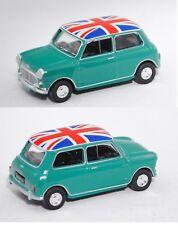 Norev 310509 Mini Cooper S Mk 1,dunkel-minttürkis, mit Nationalflagge Union Jack