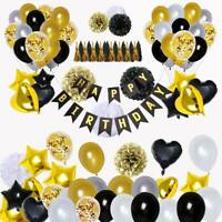 Black and Gold Party Decorations (90Pcs) Happy Birthday Banner 18th 20th 30th...