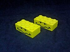 Lego Brick 2x4 with Nostrils and Wavey Mouth Print [3001px2] - Yellow x2