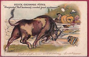 STOCK EXCHANGE NOTES c1901 Raphael Tuck PERCY BRADSHAW Unexpected BULL Movements