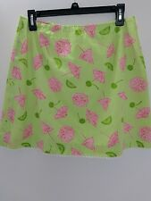 LILLY PULITZER UMBRELLAS, LIMES AND CHERRIES LINED SKIRT Sz 10,
