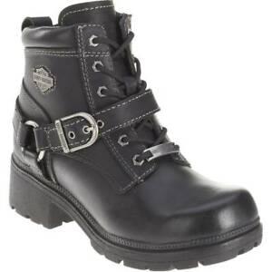 Harley Davidson Tegan Women's Zip Sided Full Grain Leather Boots in Black