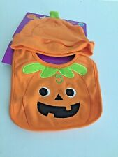 Neat Solutions Orange & Green Pumpkin Baby's Happy Halloween Bib & Hat Set