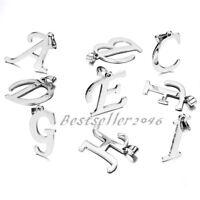 Men Women Silver Stainless Steel A-Z  Initial Alphabet Letter Pendant Necklace