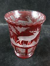 EGERMANN - Vase Rubinglas Überfangglas Kristallglas geschliffen Böhmen