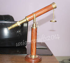 """14"""" Vintage Maritime Solid Brass Telescope Wooden Base Home & Office Decor Gift."""