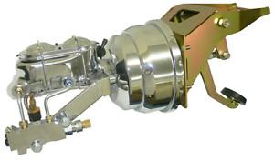 1953-56 FORD F-100 Firewall Mount Power Brake Booster Kit Disc/Disc - Chrome
