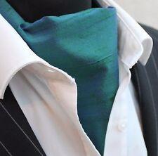 Cravate ascot 100% soie front uk made 2 tone woodland vert doupion + match hanky.
