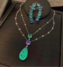 ROYAL ELEGANCE NATURAL COLOMBIAN EMERALD & AMETHYST NECKLACE 925 STERLING SILVER
