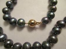"""14K GOLD BLACK PEARL NECKLACE CHAIN  8.50 MM PEARLS 18"""" LONG"""