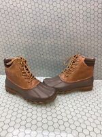 Sperry Top-Sider Brown Leather/Rubber Waterproof Lace Up Rain Boots Men's Size 9
